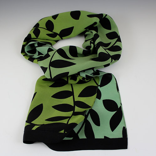 """Kavita """"Ombre"""" - Hand Screened Fine Silk Scarf in Moss to Olive"""