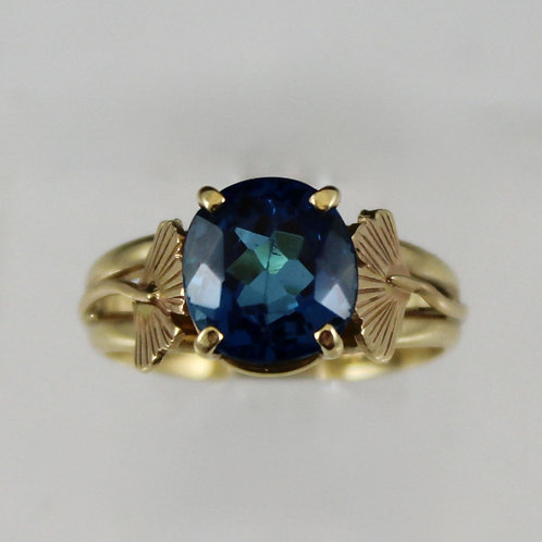 Cole Sheckler - London Blue Topaz Ring with Ginkgo Leaves
