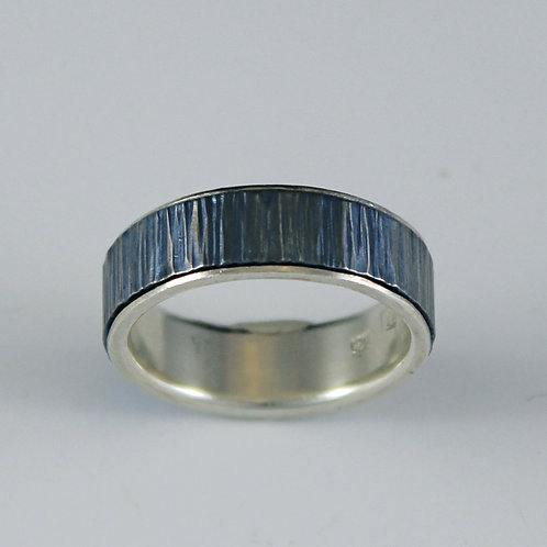 Tavia Blue Patina Titanium ring, silver liner, large