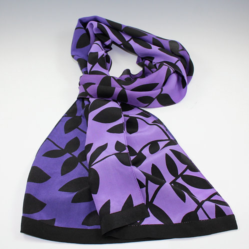"Kavita ""Ombre"" - Hand Screened Fine Silk Scarf in Purple to Violet"