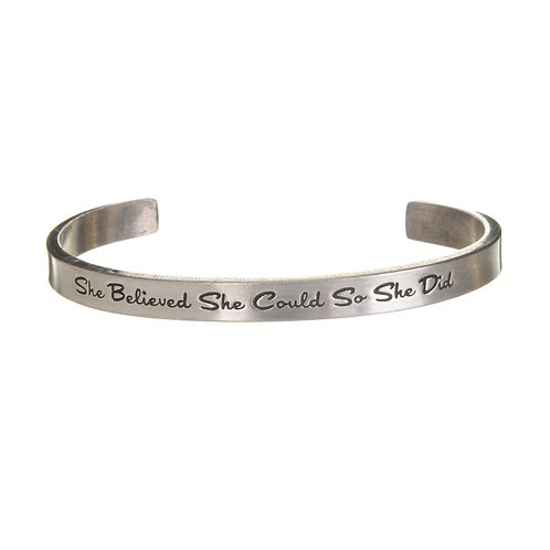 She Believed Silver Cuff Quote Bracelet