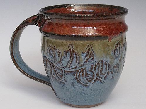 Handmade Red Blue Leaf Mug