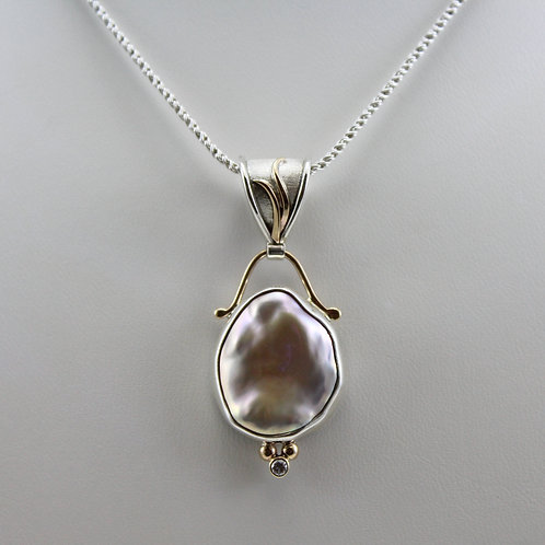 Brooke Barboza Baroque Pearl Pendant with Diamond Accent
