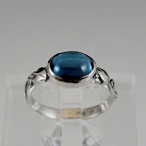 Cole Sheckler - 14KW Blue Topaz Cabochon Ring