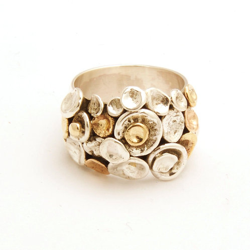 Kelly Mixed metals pebble design ring, wide band