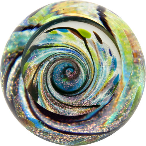 American made Glass Paperweight Twilight Fireball