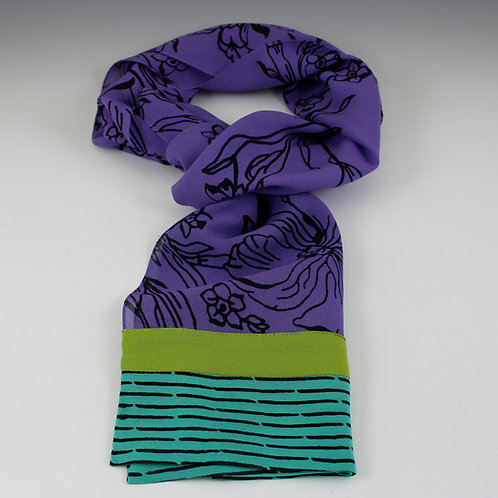 "Kavita ""Orchid"" - Hand Screened Crepe Silk Scarf in Purple"