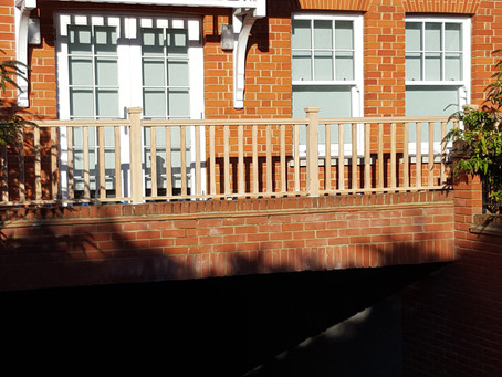 New balustrade being installed
