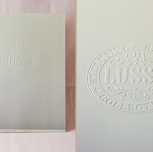 LUSSO Collection perfect-bound book with embossed cover