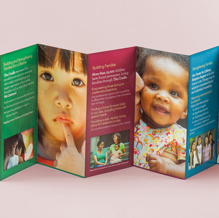 The Cradle 7-panel accordion-folded brochure