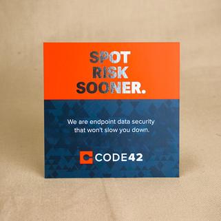 Spot Risk Sooner foil-stamped card
