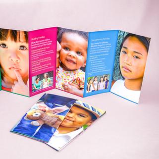 The Cradle 7-panel accordion-folded brochure