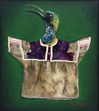 trompe l'oeil, trampantojo, decoracion, muebles, vintage, old, furniture, interiorismo, arte, pintura, silvia guzman, sgarte, murales, perspectiva, pajaros, ropa mexicana, aves, birds, mexican blouses