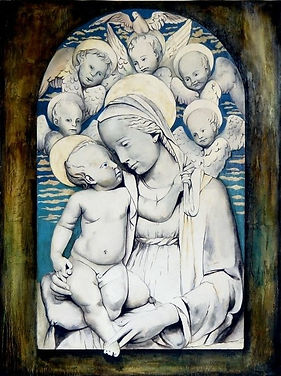 Pintura, painting, trompe l'oeil, trampantojo, arte, artista, textura, 3d, robbia, robbiane, lucca della robbia, madonna, virgen