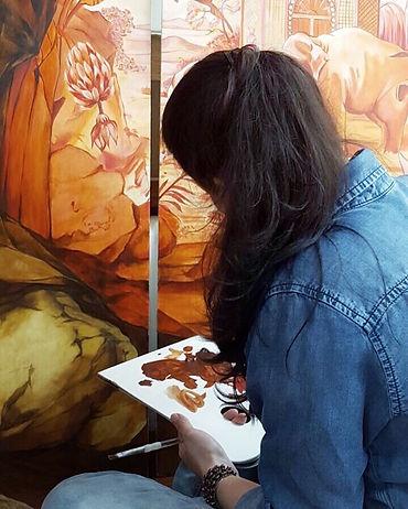 Silvia Guzman, trompe l'oeil, trampantojo, decoracion, muebles, vintage, old, furniture, interiorismo, arte, pintura, silvia guzman, sgarte, murales, perspectiva
