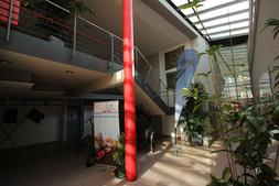 Das Foyer verbindet die Fahrzeughalle und Büros im Erdgeschoss mit den Leersälen im Obergeschoss
