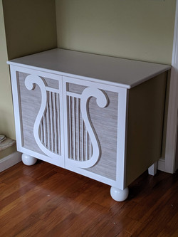 Lyre Music Cabinet with fabric door panels