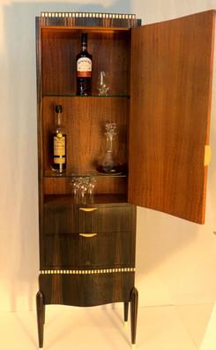 Art Deco Scotch cabinet - Ruhlmann style macassar ebony and pommele interior