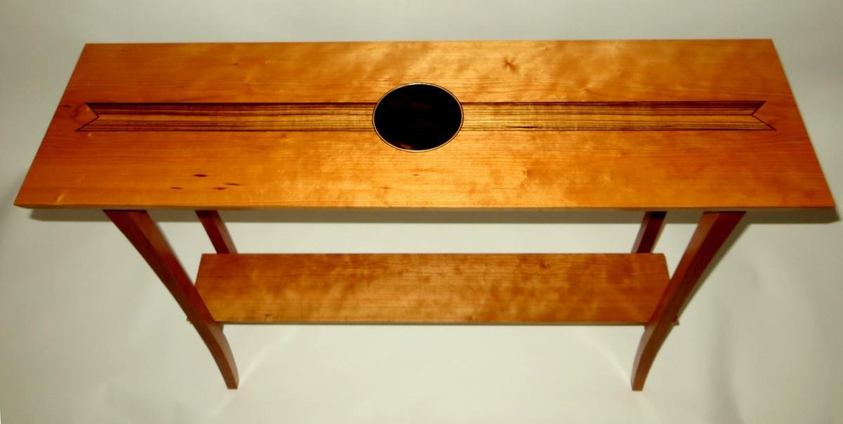 Cherry sofa table - zebrawood, ebony and walnut inlay