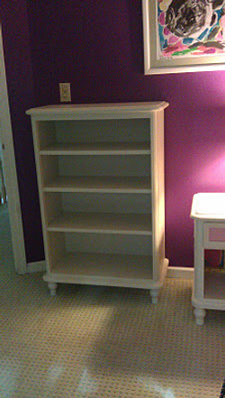 Custom matched contemporary bookcase - white lacquer