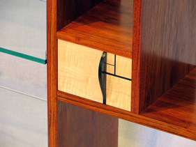 Figured Maple double end drawer with ebony pull and inlays