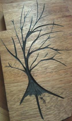 Carved Mahogany Tree art