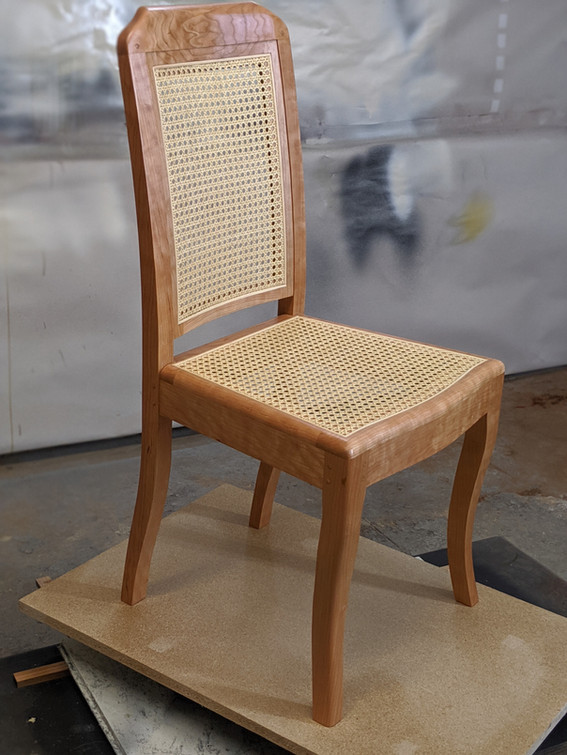 Cherry Dining Chair with caned seat and back