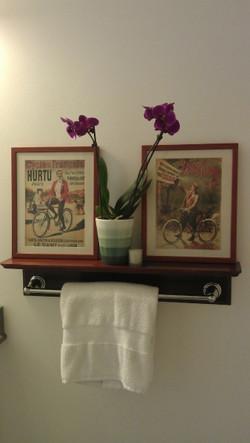 Custom bathroom shelf/towel bar