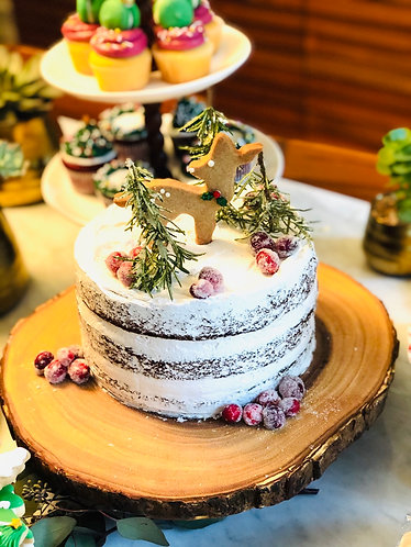 """Winter Forest Naked Chocolate Cake x 8"""""""
