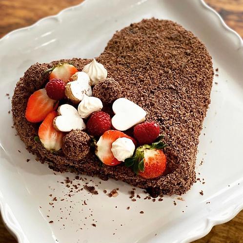 Heart Brownie Fudge Cake
