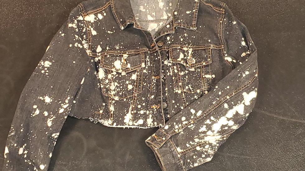 Acid Wash Cropped Denim Jacket