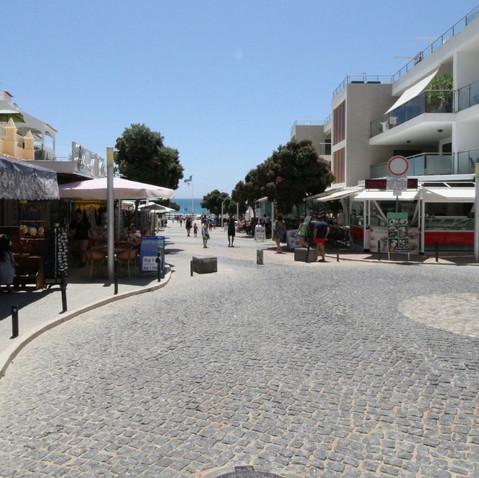 Boardwalk steps to beach restaurants and