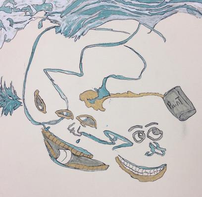 Larell Potter-Wet Paint Ocean(framed)