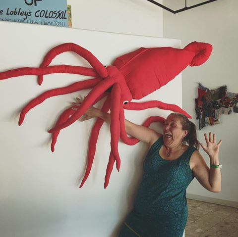 Judy with Chace Lobley's Colossal Squid!