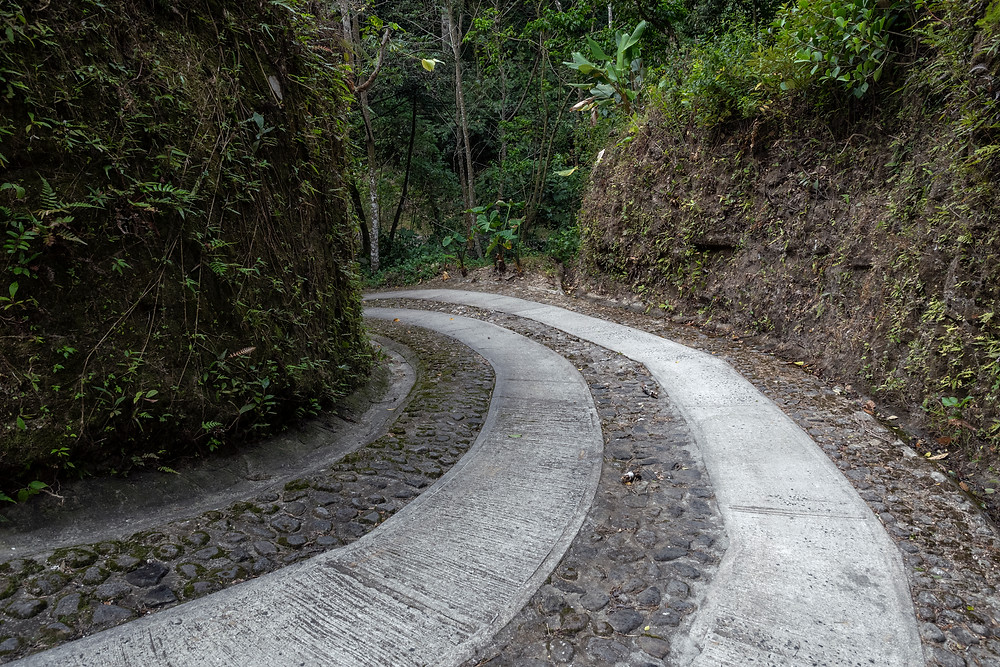 Steep winding road down to Anton Valley (El Valle) in central Panama