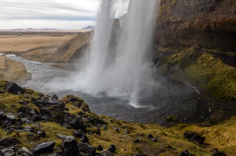 Behind the falls at Seljalandsfoss, April