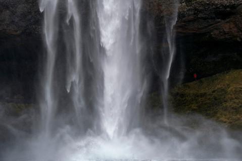 Falling waters of Seljalandsfoss waterfall in Iceland
