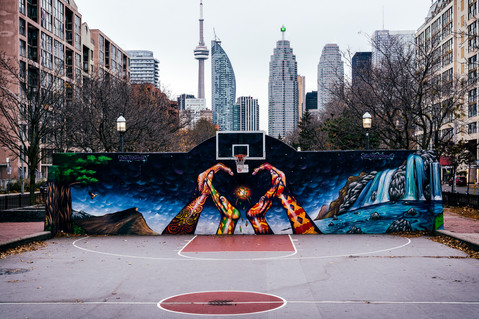 Downtown basketball court