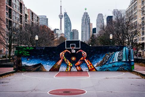 Downtown basketball court