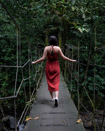 On a rope bridge in the woods of Anton Valley, central Panama
