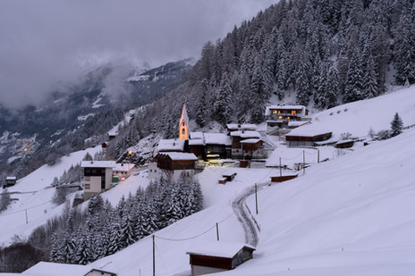 Snow covered Alpine village in the morning