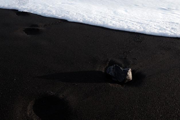 Black sand near the coastal city of Vik