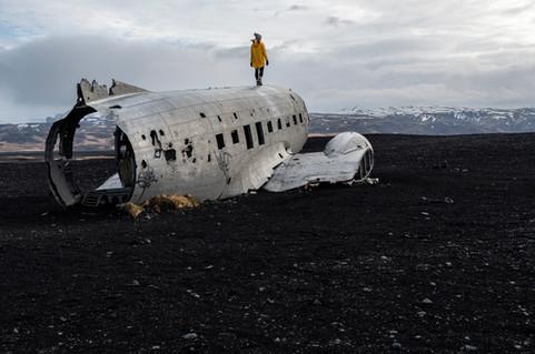 Solheimasandur plane wreck on the black sand beach in Iceland