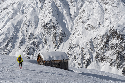 High altitude scenery with skier