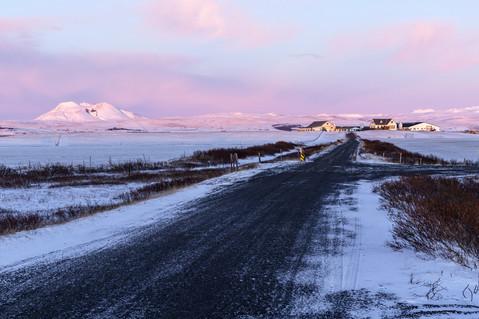 Farm driveway at sunrise Iceland