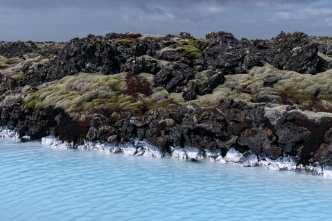 Turqoise mineral waters near the Blue Lagoon in Iceland