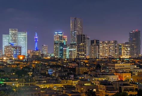 Tel Aviv city after dusk