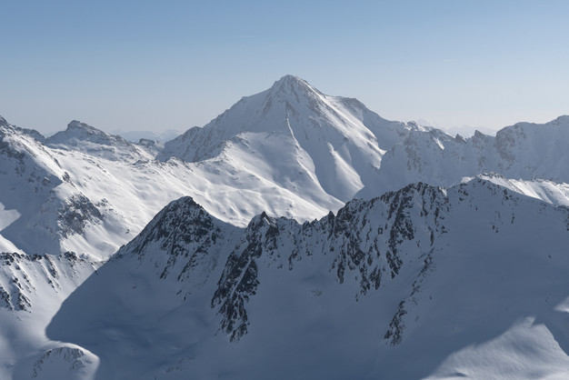 High altitude mountain view in the Alps