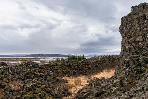 Mid-Atlantic rift valley at Thingvellir, April