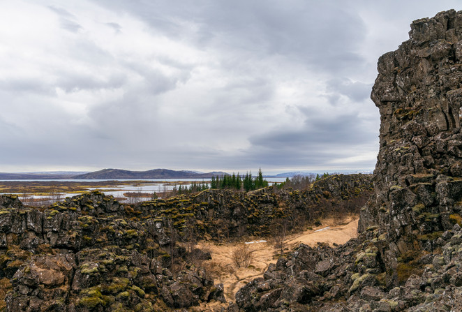 Mid-Atlantic rift valley at Thingvellir National Park in the spring in Iceland